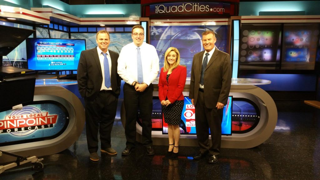 Pictured left to right: Chief Meteorologist Andy McCray, Andrew Stutzke, Anchors Tiffany Lundberg and Jim Niedelman
